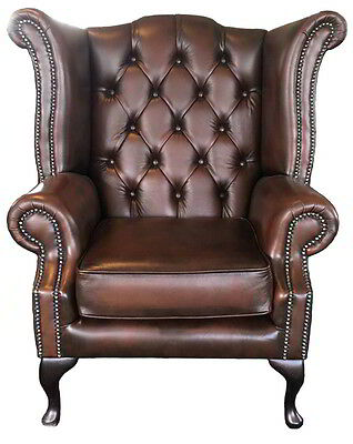 Brand New Real Leather Chesterfield High Back Wing Queen Anne in Antique Brown