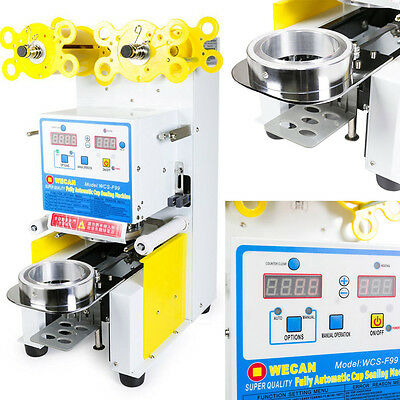White AUTOMATIC Commercial Sealing Machine Cup Sealer Bubble Tea LED Display
