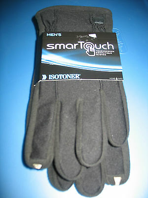 mens SMART TOUCH TOUCHSCREEN COMPATIBLE GLOVES, ISOTONER, SIZE XL, BLACK, NEW