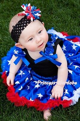Newborn Baby Olympic Patriotic Pettiskirt Tutu Blue Ruffles Bows Black Top 3-12M