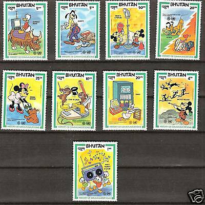 BHUTAN  # 397-405 MNH DISNEY History Communications Mickey & Friends