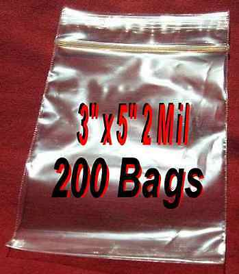"200 3""x 5"" Clear Ziplock Plastic reclosable Poly BAGS-2Mil Jewelry-High Clarity"