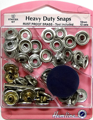 Heavy Duty Silver Nickle Snaps 15mm x 12 Sets Press Studs Poppers Fasteners
