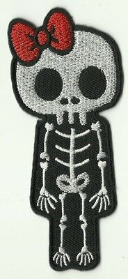 Ecusson Patche Thermocollant Patch Girl Squelette Skull Dim. 10 X 4,5 Cm