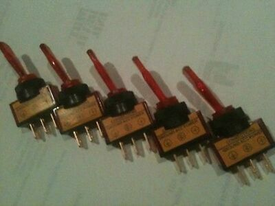 *5 pack* Illuminated toggle switch with RED light