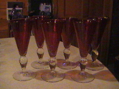 6 Ruby Red & Clear Blown Glass Cased Goblets With Bubbles 5 oz