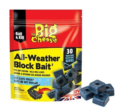 30 Blocks STV Big Cheese All Weather Poison Bait Rat Mouse Mice Rodent Killer