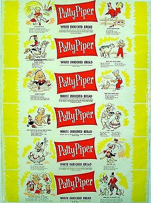 Vintage bread wrapper PATTY PIPER #1 dated 1958 Humpty Dumpty new old stock nrmt