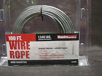 100 foot x 3mm Galvanized Braided Wire Rope Cable Aircraft Grade Winch 7 WSG NEW