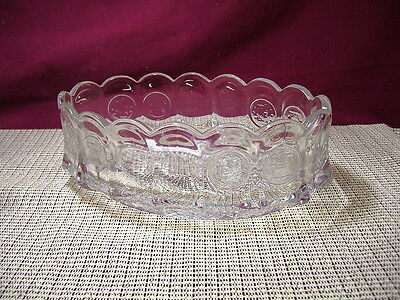 Fostoria Crystal Coin Glass Clear Oval Bowl