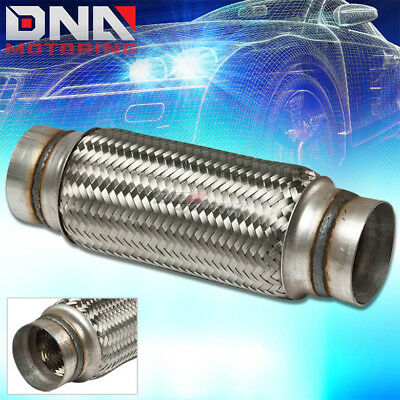"""3""""X 12"""" STAINLESS SS 10"""" FLEX PIPE DOUBLE BRAIDED EXHAUST/CATBACK/DOWNPIPE/TURBO"""
