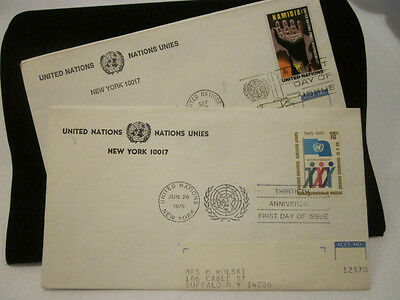 STAMPS First DAY COLLECTIBLE~UNITED NATIONS 1975 10 Cent {Lot of 2 -Jun & Sept}