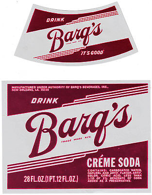 Old soda pop bottle label BARQS CREME SODA New Orleans unused new old stock
