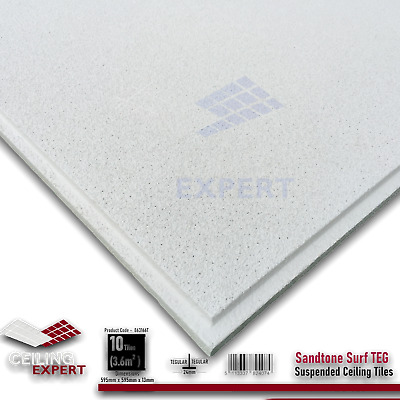 SUSPENDED CEILING TILES SANDTONE TEXTURE TEGULAR EDGE 600mm X 600mm 12 Tiles Box