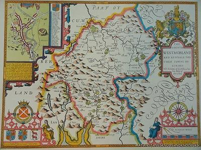 Old Copy Of John Speed 1610 Map County Of Westmorland Kendal Penrith Appleby