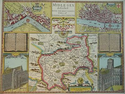 Old Copy Of John Speed 1610 Map Middlesex London Westminster Town Plan