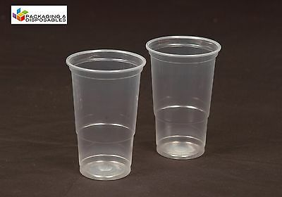 1000 x CLEAR DISPOSABLE PLASTIC PINT BEER GLASSES TUMBLERS STRONG