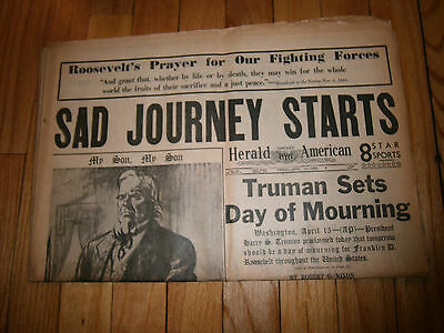 Chicago Herald American Newspaper April 13 1945 Sad Journey Starts Roosevelt