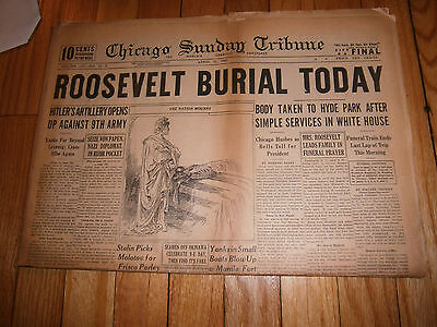 Chicago Sunday Tribune Newspaper April 15 1945 Roosevelt Burial Today WWII