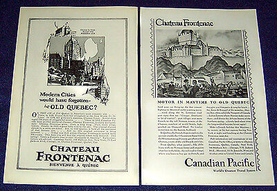Lot of 2 CHATEAU FRONTENAC Ads ~ Old Quebec Canada Tourism 1926 & 1929