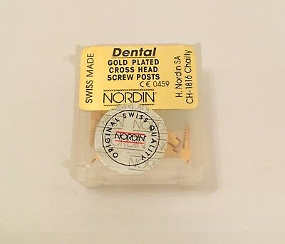 Dental Screw Post by * NORDIN * Refill of Kit 12 posts ( Gold ) Short  Size S2