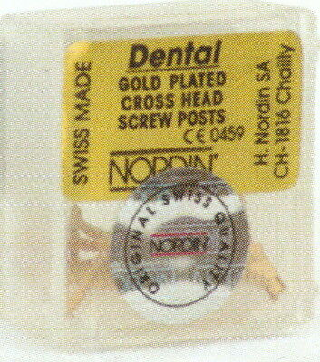 Dental Screw Post by * NORDIN * Refill of Kit 12 posts ( Gold ) Short  Size S3