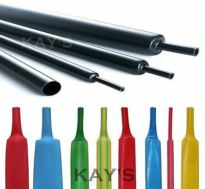 Heat Shrink Tube Sleeve 2:1 Ratio Black Clear Blue Red Yellow Green All Sizes