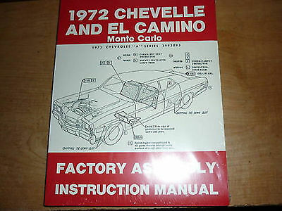 1972 Chevrolet Chevelle El Camino Assembly Manual New