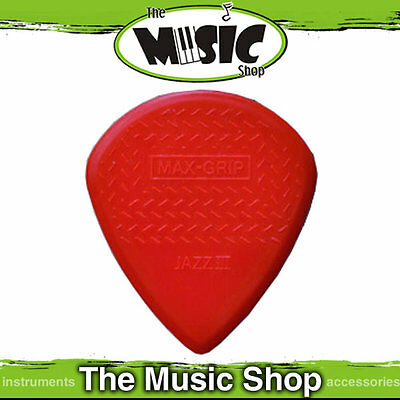 6 x Dunlop Max Grip Jazz III Nylon Guitar Picks - Red Jazz 3 Plectrums - Bulk