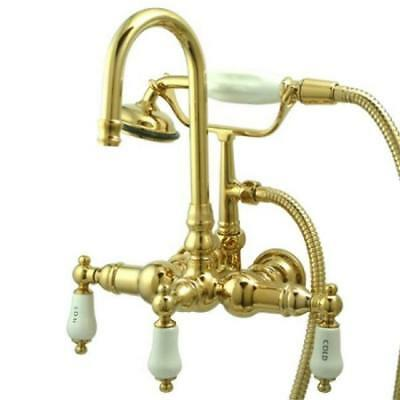 Kingston Brass Wall Mount ClawFoot Tub Faucet With Hand Shower - Polished Brass