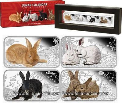 Cook Islands 2011 Year of Rabbit 4 Coin Rectangle Color Silver Proof $1 Set