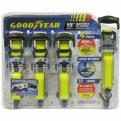 "New Goodyear Heavy Duty Set of 4 Snap-On 1-1/2"" Ratchet Tie Down Straps"