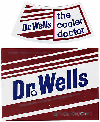 Old soda pop bottle label DR WELLS with neck label unused new old stock n-mint+