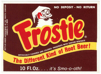 Old soda pop bottle label FROSTIE ROOT BEER elf pictured 10oz size new old stock