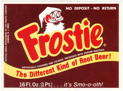 Old soda pop bottle label FROSTIE ROOT BEER elf pictured 16oz size new old stock