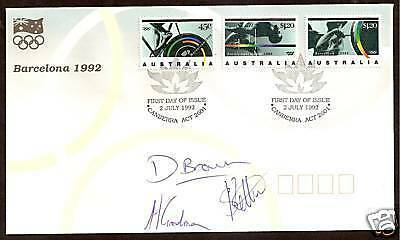 AUSTRALIA 1992 OLYMPIC GAMES FDC SIGNED WEIGHTLIFTERS Kettner Goodman Brown