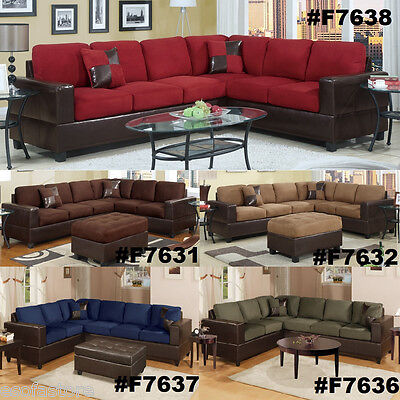 Chocolate Sectional Couch 2 Pc Sofa Loveseat Wedge Microfiber Plush Sectionals
