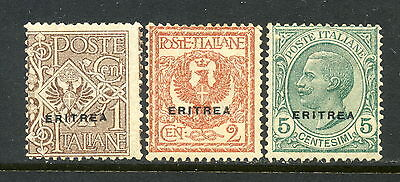 Eritrea SC# 88-90, MH, (3) stamp set of Ovprt. Issued in 1924/