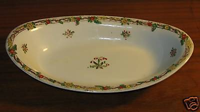 Noritake Nippon Hand Painted Oval Bowl Red Flowers Dish
