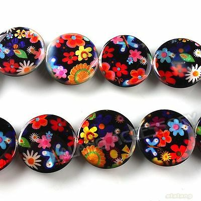 1string 111520 New Oblate Colorful Flowers Charms Shell Loose Beads 20mm