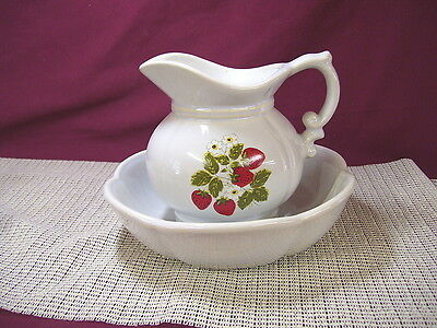 Vintage McCoy Pottery Strawberry Country 7528 Small Pitcher & Bowl Set