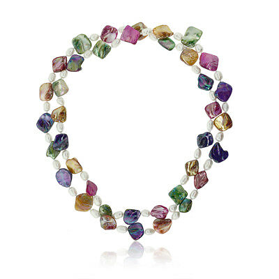 """46"""" Amazing MultiColor Cultured Freshwater Pearl & Shell Pearls Necklace"""