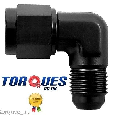AN -6 (6AN -6 JIC) 90 Degree Male to Female Forged Adapter in Black
