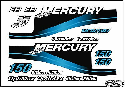 Mercury Outboard 150 HP Decal Kit Blue - Saltwater w/OptiMax & Offshore Engine