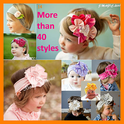 Top Baby Flower Cotton Headband Infant Newborn Baby Girl Toddler Christening