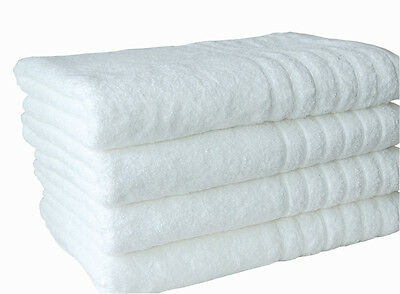 2 Pure Cotton Bath Sheets King Towels 600GSM Spa Quality Natural White