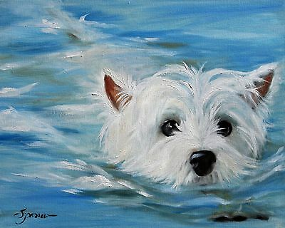 MARY SPARROW westie West Highland White Terrier Dog art Print  Swimming puppy