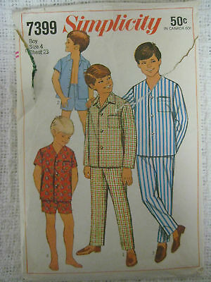 Vintage Simplicity 7399 TWO PIECE PAJAMAS Sewing Pattern Boys Child Size 4