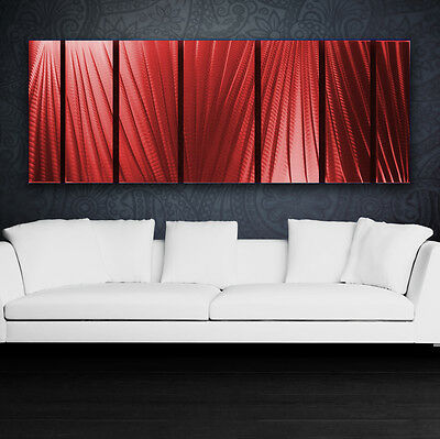 Modern Abstract Metal Wall Art Red Painting Sculpture Home Decor Indoor Outdoor