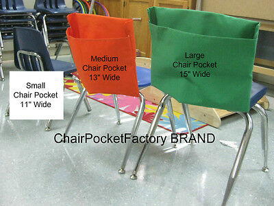"""1 LARGE BLACK CHAIR POCKET Fits Chairs 15/"""" WIDE CLASSROOM SEAT SACK"""